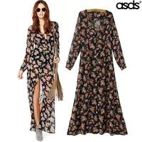 2014 autumn new Europe and America , Ms. long-sleeved chiffon print dress WQZ15244 sunscreen split