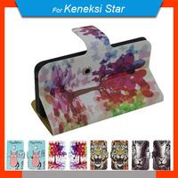 Free Shipping 360 Degrees Rotating Cartoon PU Leather Universal Case + Free Gift For Keneksi Star