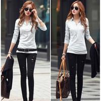 2014 New Autumn Simple  Korean Style Plus Size Women Blousers Free Shipping L317