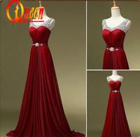 2014 Real Scoop Neckline Burgundy Color Floor Length Beading Sash Cheap Elegant Evening Dresses