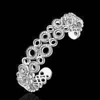 2015 New Fashion Jewelry 925 Silver High Quality Hollow Circle Beautiful Retro Ethnic Cuff Bangle For Women