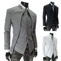Autumn And Winter Men's Blazers Jacket Asymmetric Slim Fake Two Brand Blazers Suits For Men Blazer Designs MY-X309