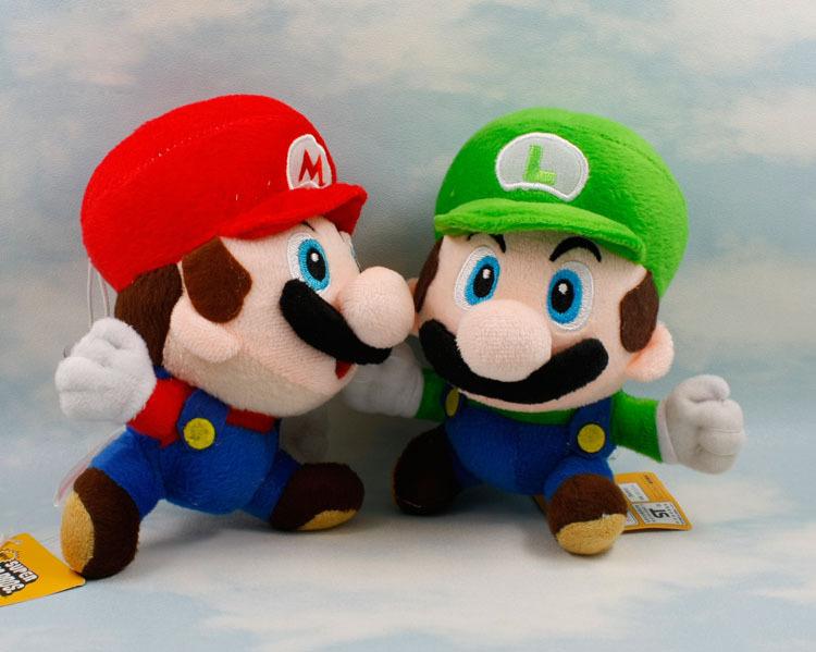 Бесплатная доставка EMS 100 шт./лот Super Mario Bros Плюшевые Игрушки 6.5 ''17cm Запуск Марио Луиджи Мягкие Плюшевые Куклы 2 стили