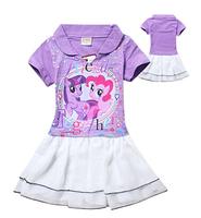 Free shipping baby clothing children girls girl My little pony dress purple  summer dress stripe cotton dresses