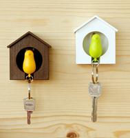 Little Bird Key Ring Lover Bird House Whistle+Key Ring+Key Holder
