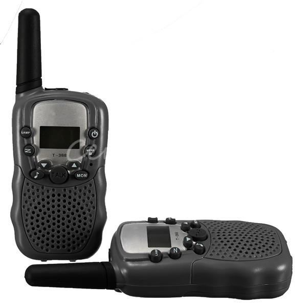 T-388 2pcs Dual Black Adjustable Portable Mini Wireless LCD 5KM UHF Car Auto VOX Multi Channels 2-Way Radio Travel Walkie Talkie(China (Mainland))