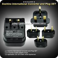 1set  Soshine New Multifunction 50-1875 Watt World Travel Universal Power Outlet Adapter International Converter and Plug SET