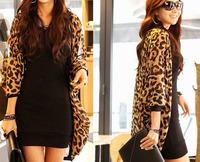 Feitong  High Quality  Leopard Print Batwing Sleeve Cape Tunic Cardigan Lady Tops Shawl Jacket Coat Wholesales