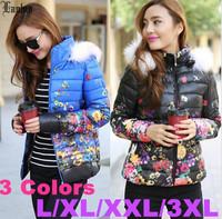 Lanluu New Arrival 2014 Fur Hooded Womens Winter Coats Print Floral Short Jacket Female Coat SQ1063