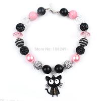 5pcs/lot Christmas Gift Girl Kids Pink Chunky Beads Necklace Black Cat Pendant Bubblegum Beads Necklace Jewelry Wholesale