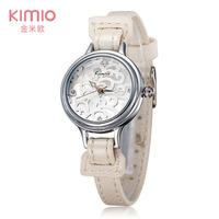 2015 Brand KIMIO Leather Bracelet Watch Rhinestone Shell Dial Women Dress Watch Wristwatches Dropshipping