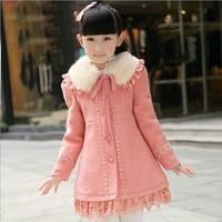 2014 Autumn Winter Girl's Wool Blends Coat Sweet Lace Ruffle Girl Wool Coat Fur Collar Winter Girls Wool Blends