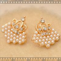 11.11 jewelryThe fair maiden temperament Crown princess little pearl South Korea false man high-end stud Special