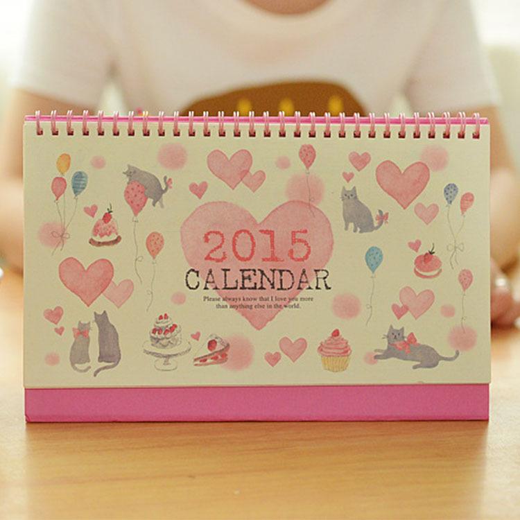2015 Desktop Cartoon Calendar Cat Festival&Love Story Calendar Korea ...