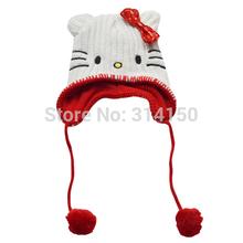 Baby Hats Cute Cartoon Cats Children Knitting Hats Crochet Hats Winter Baby Girls Warm Bowknot Crochet Hats Free Shipping(China (Mainland))