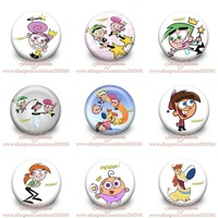 Novelty 9styles 18Pcs The Fairly OddParents,Cartoon Logo Buttons pins badges,30MM,Round Brooch Badge,Kid  Gifts,Bags Decoration