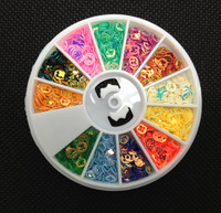 12 Colors Rainbow Round Sequin 3mm Shapes Nail Art Tips Deco Wheel