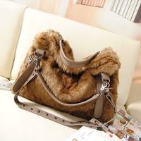 2014 winter women handbag Faux Rabbit hair casual women bags shoulder large korea style cross-body tote promotion