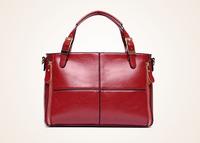 On sale! 2014 New Fashion Women Genuine Leather Handbags Quality Oil Wax Leather Tote Casual Check Shopper Bags Tote Bolsas