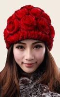 Rabbit fur cap female skullies winter warm hat winter hats beanies for women outdoor lovely knitted gorros