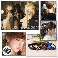 Korean Style Wig Elastic Hairband Brown Synthetic Hair Elastic Hair Band Headband Braid Hairpeice Ponytail Holder Hair Rope Tie