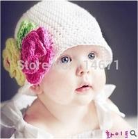 Free Shipping (5pcs/Lot) 2014 Fashion Baby Girls Handmade Knitted Hats Girl Flower Princess Wool Hat Girls Winter Knitted Cap