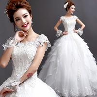 2014 French slit neckline princess bride bandage wedding dress  slim winter wedding dress A2110#