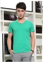The new stretch cotton men's V-neck T-shirt solid color cotton men's short-sleeve T shirt wholesale multicolor