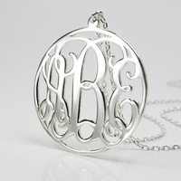 Wholesale 24pcs/Lot Metalwork Gold Silver Pink Monogram Pendant Necklace Women Necklaces (mix color)