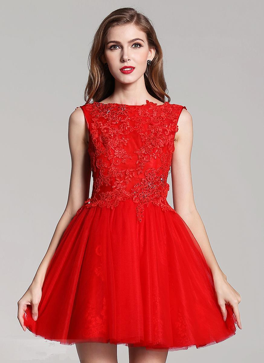 Красное вечернее короткое платье фото