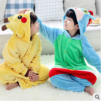 Children Animal Pikachu Flannel One-piece Pajamas Kids Cartoon Warm Winter Sleepwear Clothing Onesies Pokemon Cow Costumes AN332