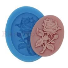 Mold Rose Flor Cabochon Silicone Para Resina Artesanato Jóias 38x28mm Cameo(China (Mainland))