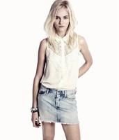 HOT SELLING !Turn-down Collar Chiffon Female Blouse  Women's Summer Sleeveless Hollow Lace Splice Shirt  Y413