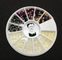 3 Sizes Rainbow White + Black Foil Beads Nail Art Acrylic UV Gel Tips Wheel