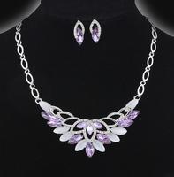 Min order is $10(mix order)New arrive Fashion wedding Jewellery Set Necklace Earrings silver chain light purple drill women