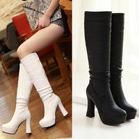 Sexy 2014 women High Heels thick heels pumps Casual Dress Platform knee high boots women winter autumn leather boots shoes women
