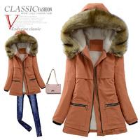 2014 winter cotton-padded jacket women medium-long plus velvet thickening overcoat winter outerwear large fur collar parka