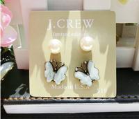 2014 Hotselling Wholesale JC pearl Stud Earrings Set Include 4 Pieces butterfly Earrings flower Retro Jewelry for women,B141