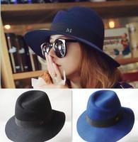 New 2014 Fashion bowler hat large woolen felt hats autumn and winter Tourism caps sun hats summer Formal hat for women