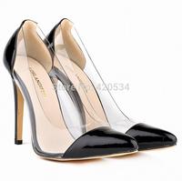 {D&T}12 Colors Size35-42,Brand Point Toe Transparent Patchwork  Pumps Women,11cm High Heels Slip-On Women Shoes,Nude Black Red