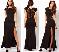 Ebay2014 summer fashion elegant women's patchwork o-neck sleeve length slim evening dress one-piece dress