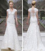 2015 New Style Lace Mermaid Wedding Dress White Princess Sleeves Wedding Dresses