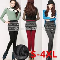S-4XL size women warm skirt leggings 2014 winter korean style extra plus size stretchy deers christmas leggings free shipping