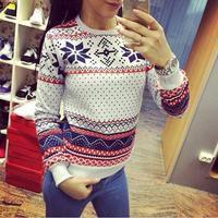 Free Shipping 2014 Women Hoody Casual Sweatshirt Fashion Pullovers Snowflake Printed Hoodies Tops Moleton Feminine