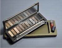 New CosmetIc Makeup Nake Eyeshadow Palette 12 Color Eye shadow Lip Gloss + Brush (1pcs/lot)