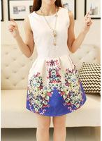 Free Shipping2014 spring new dresses crewneck sleeveless printed base vest dress