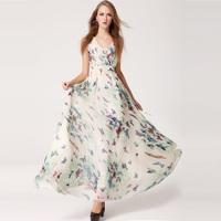 New Summer women's Chiffon Dresses Vest Sundress Butterfly Printing Expansion Bottom Big Hem Maxi Long Ankle Beach Length Dress