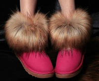 New arrival hot sale  35-39 size 9 colors new warm winter boots retro matte leather imitation fox fur women snow boots