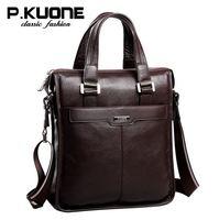 New P.kuone brand men bag handbag genuine leather bag cowhide leather men briefcase business casual men messenger bags for 2015