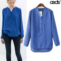 Women Blouses Limited Cotton 2014 Autumn New European And American Super Beautiful Temperament Was Thin Sleeve Shirt Wcs15322